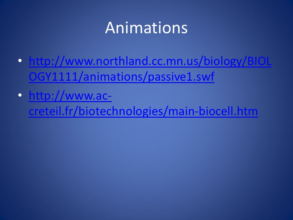 Animations http://www.northland.cc.mn.us/biology/BIOLOGY1111/animations/passive1.swf.