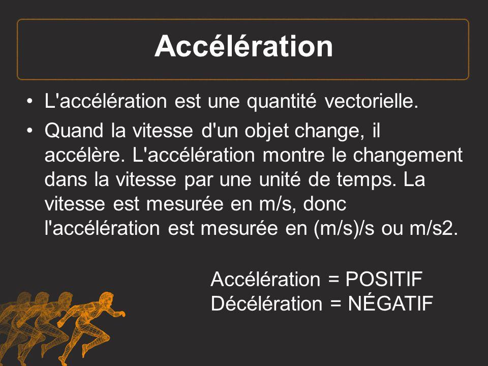 Accélération L accélération est une quantité vectorielle.