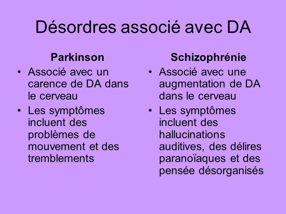 Désordres associé avec DA