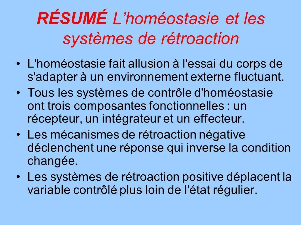 RÉSUMÉ L'homéostasie et les systèmes de rétroaction