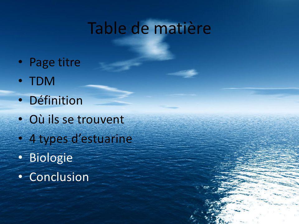 Table de matière Page titre TDM Définition Où ils se trouvent