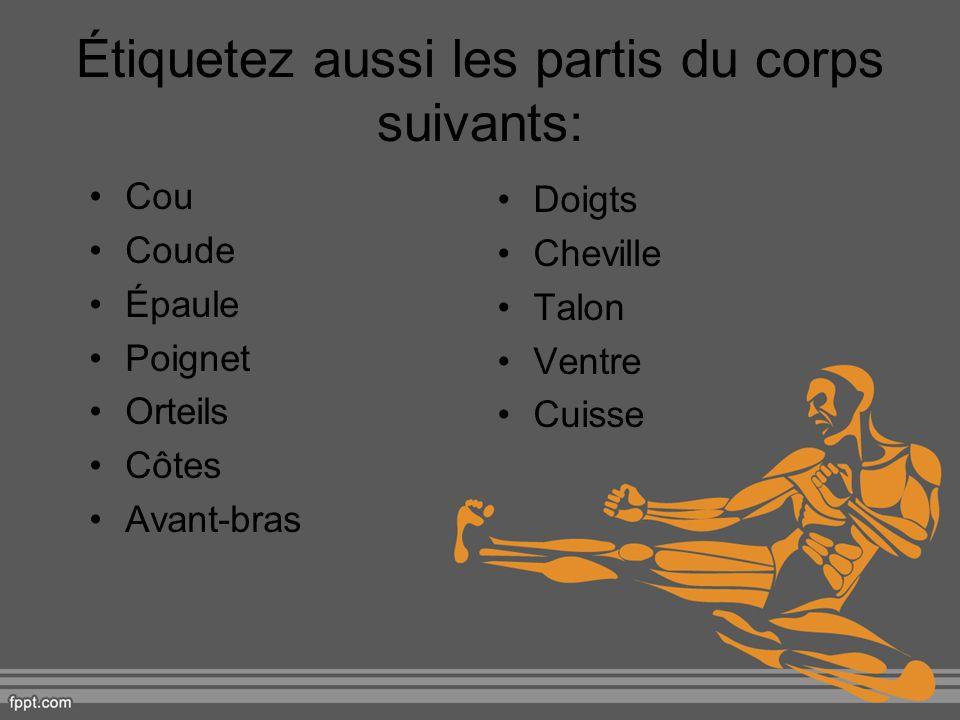 Étiquetez aussi les partis du corps suivants: