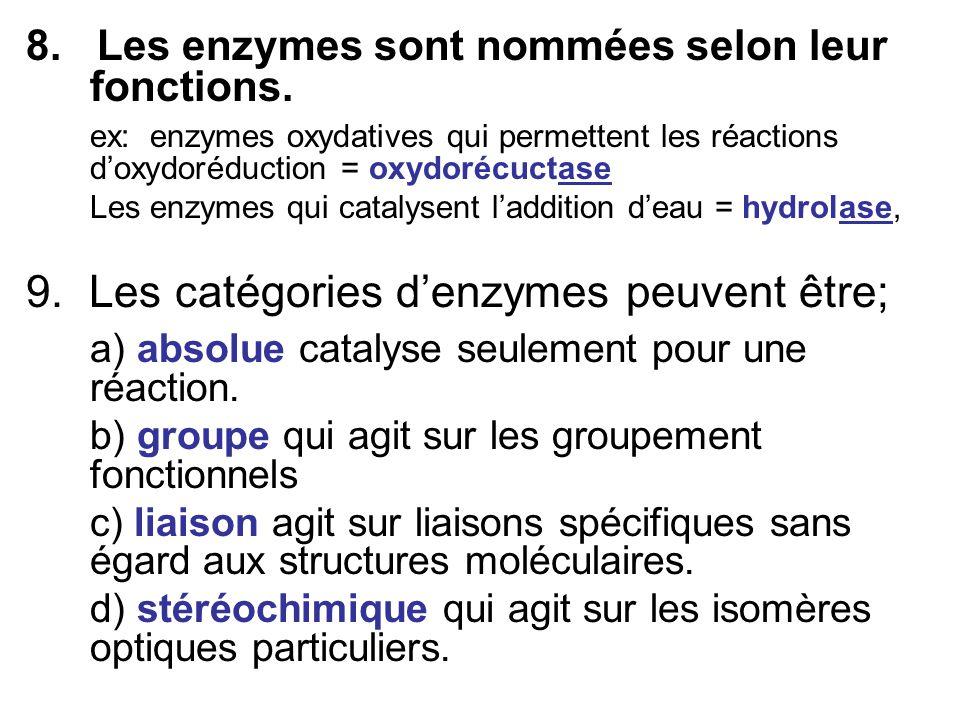 9. Les catégories d'enzymes peuvent être;