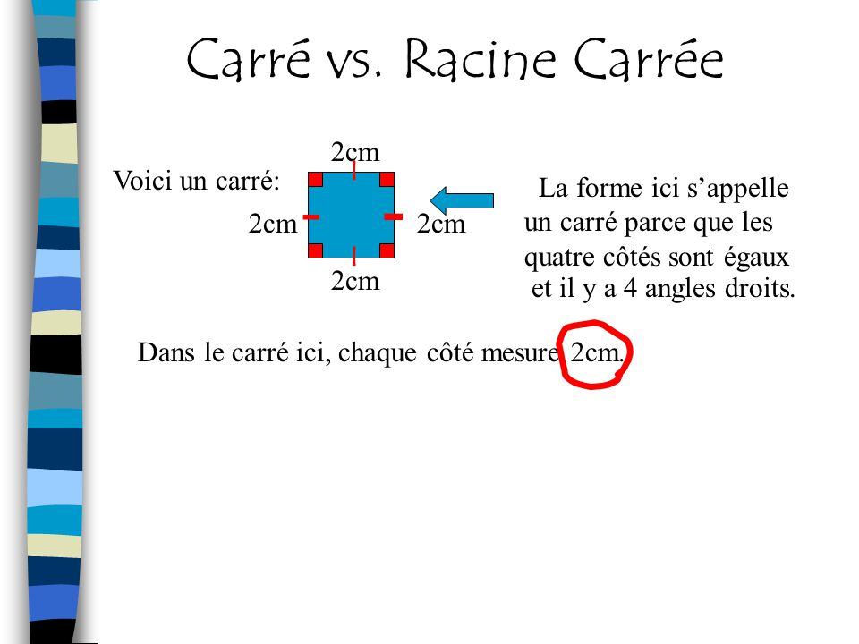 - Carré vs. Racine Carrée 2cm I Voici un carré: -