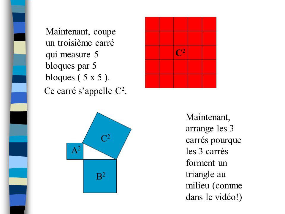 Maintenant, coupe un troisième carré qui measure 5 bloques par 5 bloques ( 5 x 5 ).