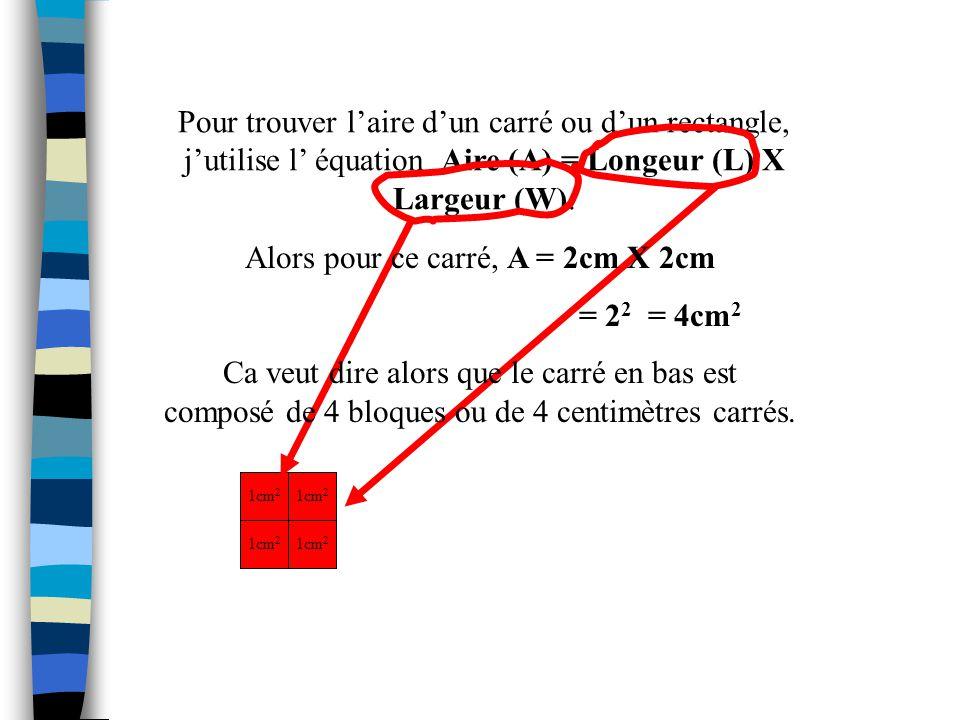 Alors pour ce carré, A = 2cm X 2cm