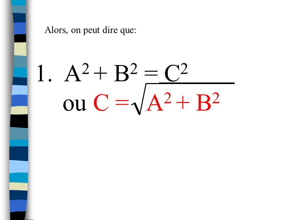 Alors, on peut dire que: 1. A2 + B2 = C2 ou C = A2 + B2