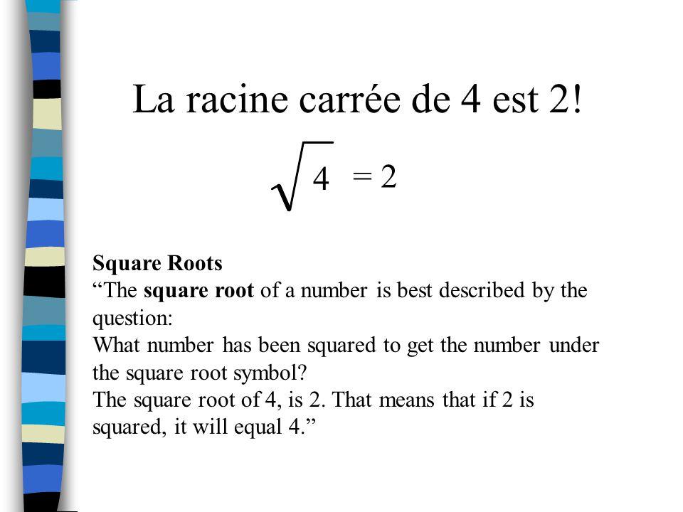 La racine carrée de 4 est 2! = 2 4 Square Roots