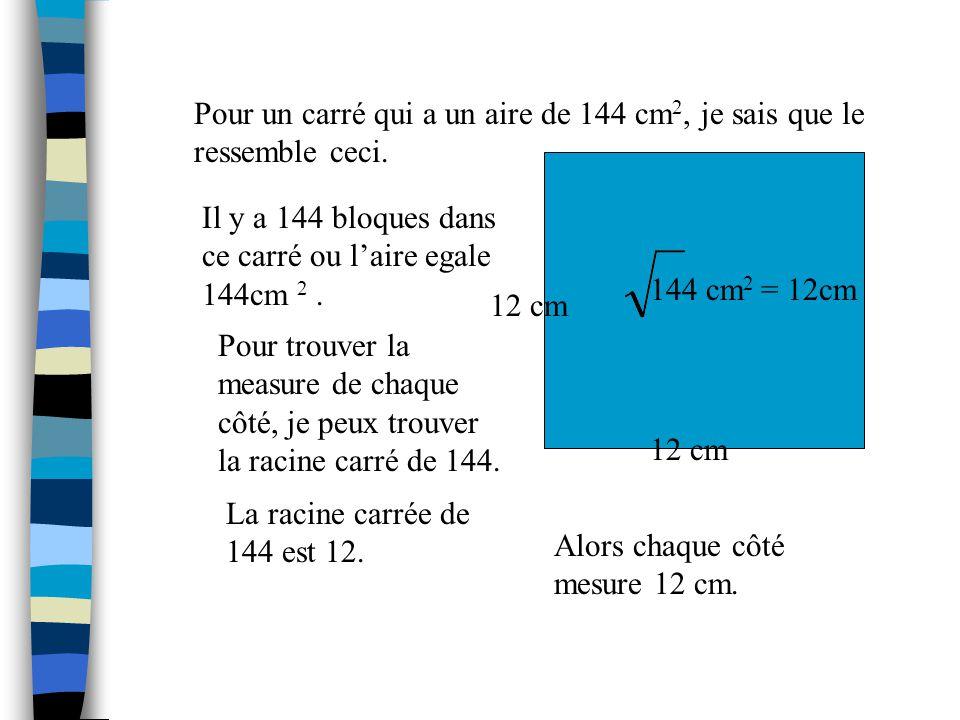Pour un carré qui a un aire de 144 cm2, je sais que le ressemble ceci.
