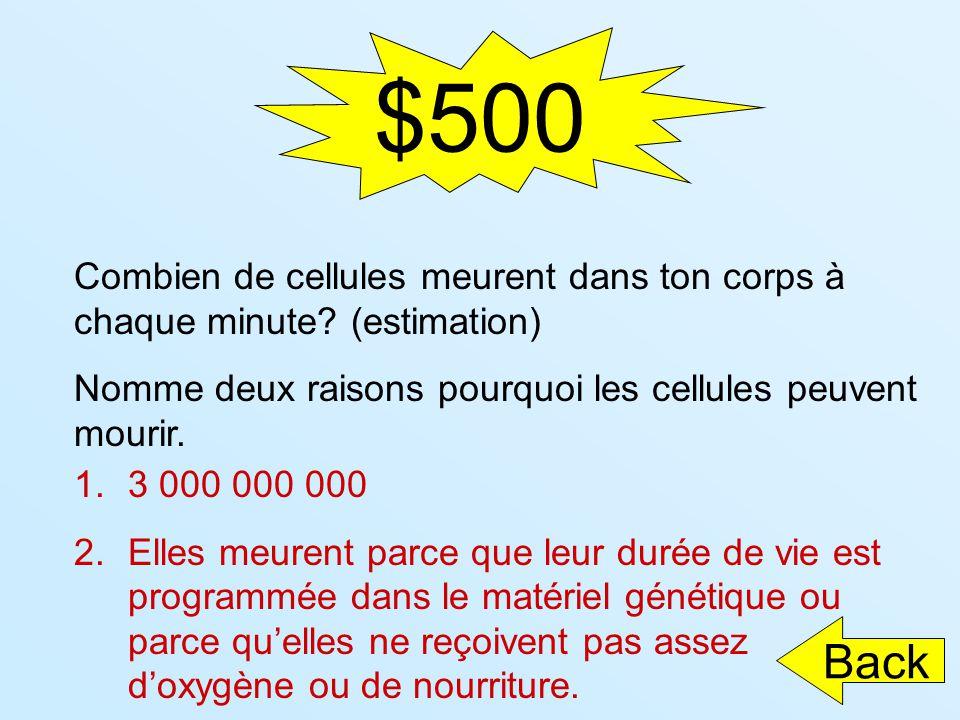 $500 Combien de cellules meurent dans ton corps à chaque minute (estimation) Nomme deux raisons pourquoi les cellules peuvent mourir.