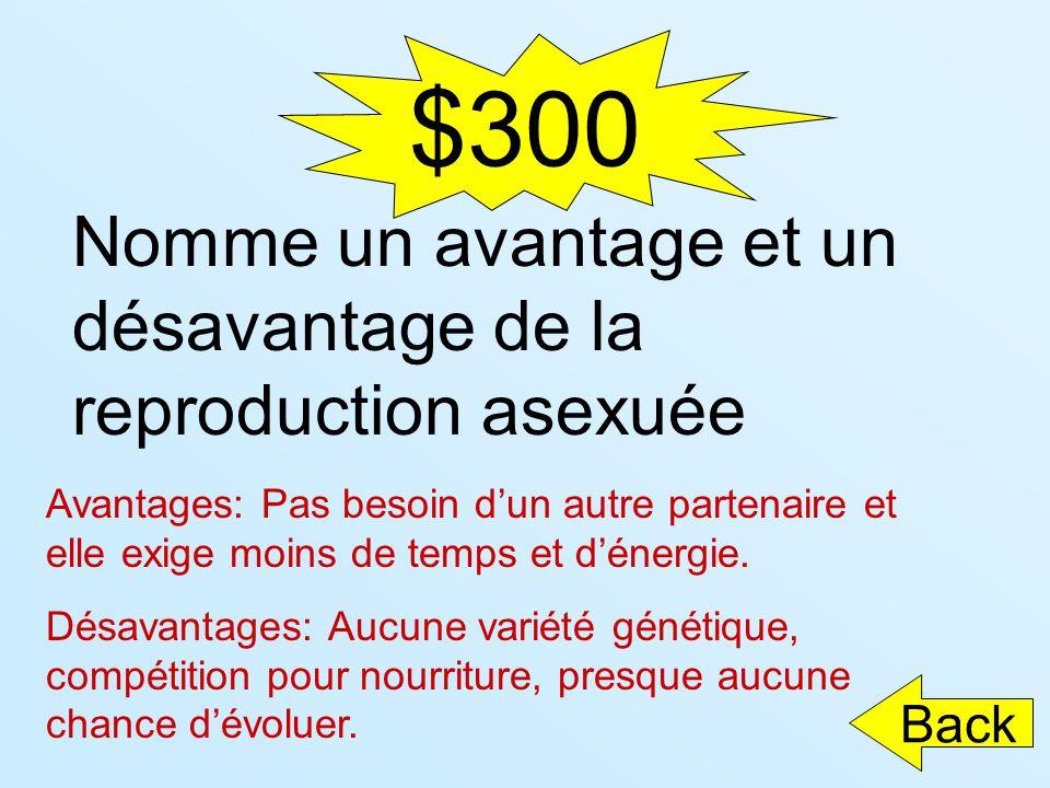 $300 Nomme un avantage et un désavantage de la reproduction asexuée