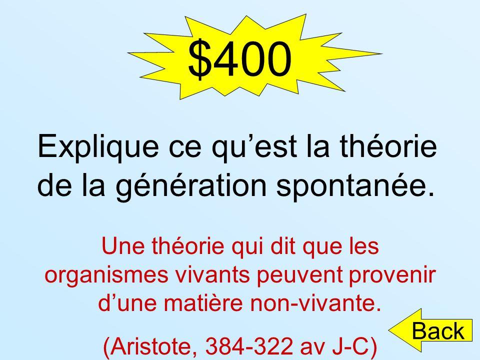$400 Explique ce qu'est la théorie de la génération spontanée.