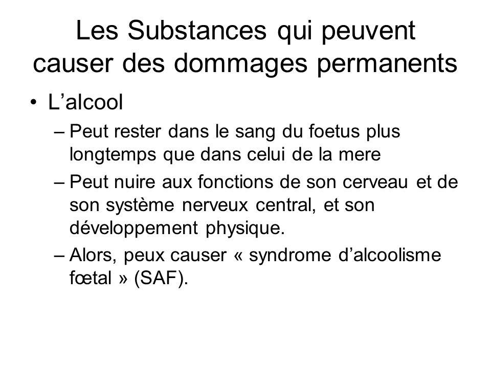 Les Substances qui peuvent causer des dommages permanents