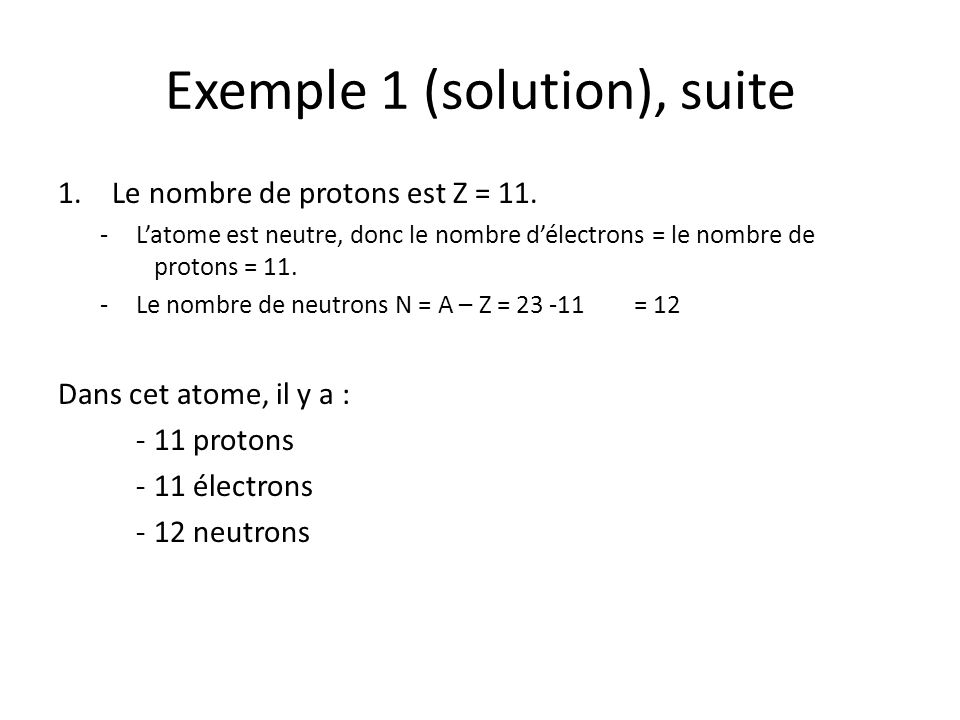 Exemple 1 (solution), suite