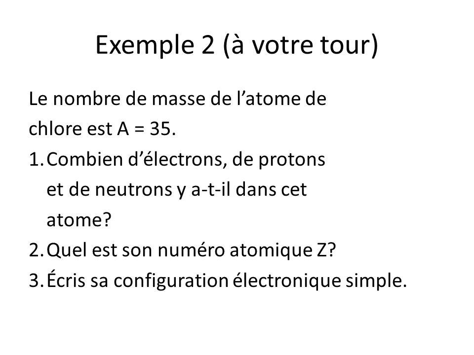 Exemple 2 (à votre tour) Le nombre de masse de l'atome de
