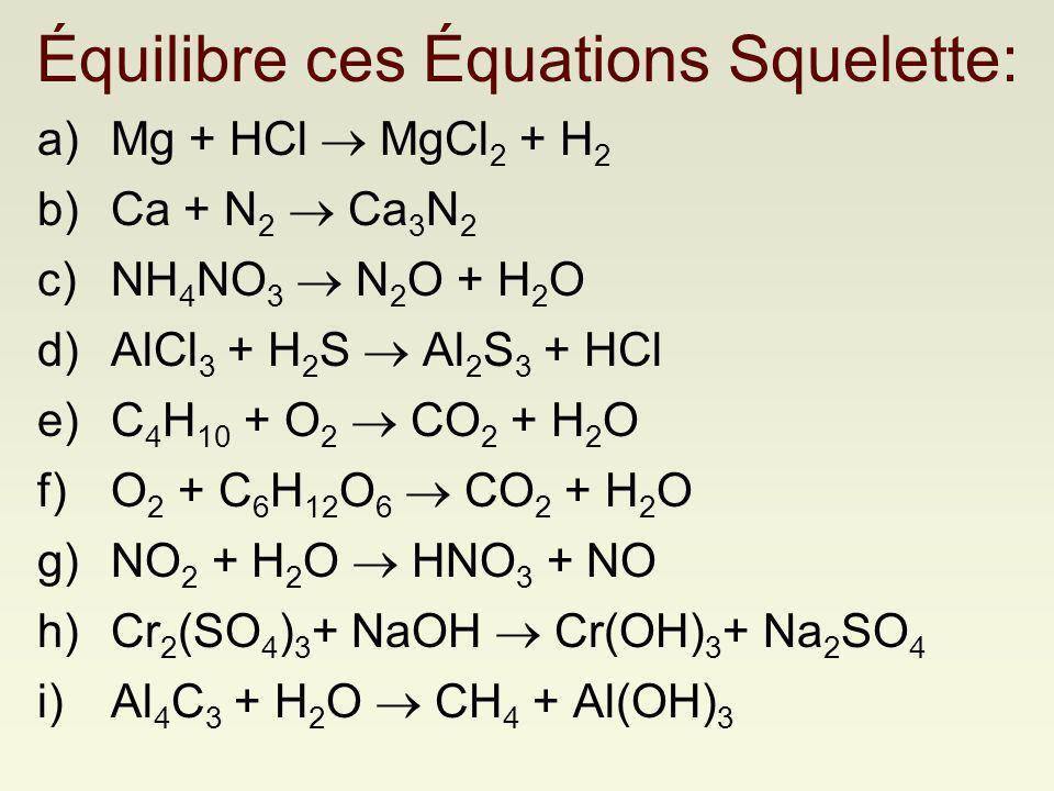 Équilibre ces Équations Squelette: