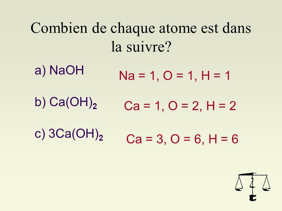 Combien de chaque atome est dans la suivre