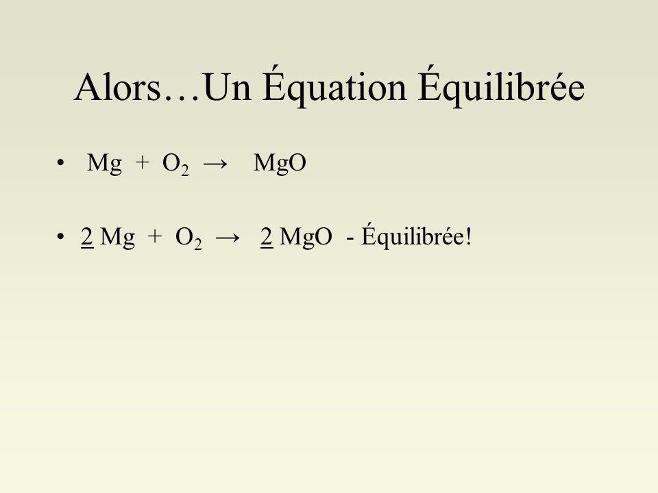 Alors…Un Équation Équilibrée