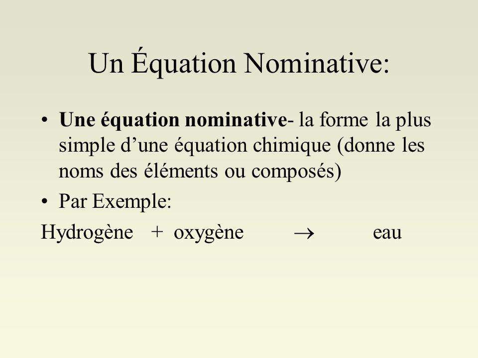 Un Équation Nominative: