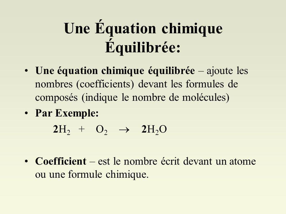 Une Équation chimique Équilibrée: