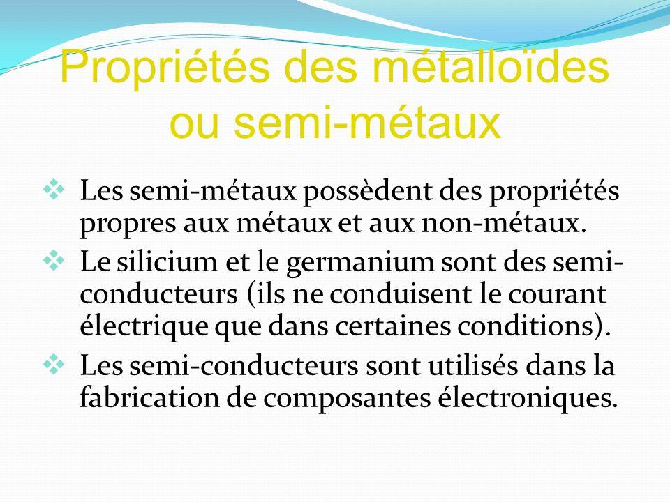 Propriétés des métalloïdes ou semi-métaux