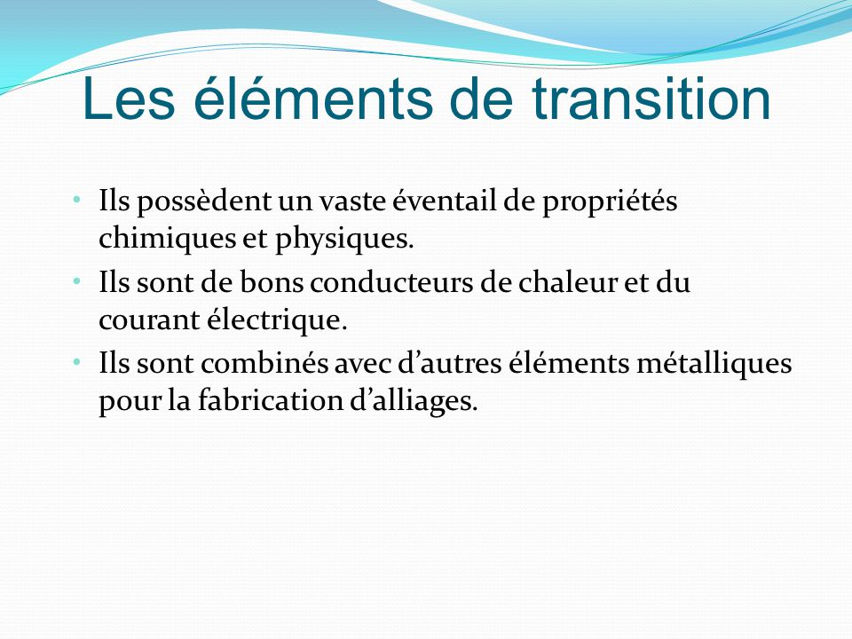 Les éléments de transition