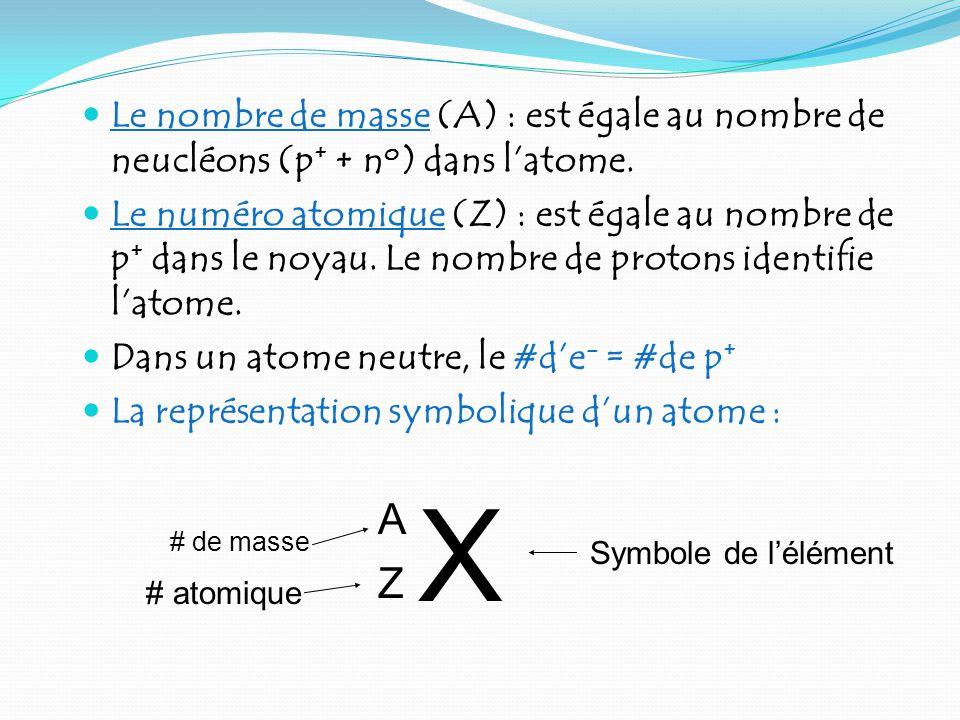 Le nombre de masse (A) : est égale au nombre de neucléons (p+ + no) dans l'atome.