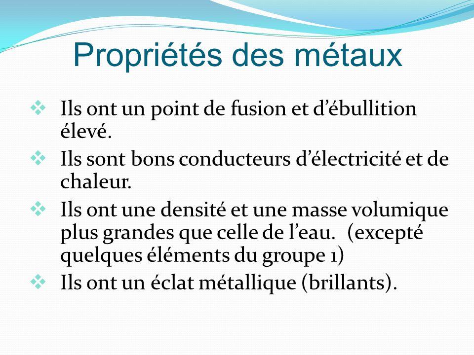 Propriétés des métaux Ils ont un point de fusion et d'ébullition élevé. Ils sont bons conducteurs d'électricité et de chaleur.