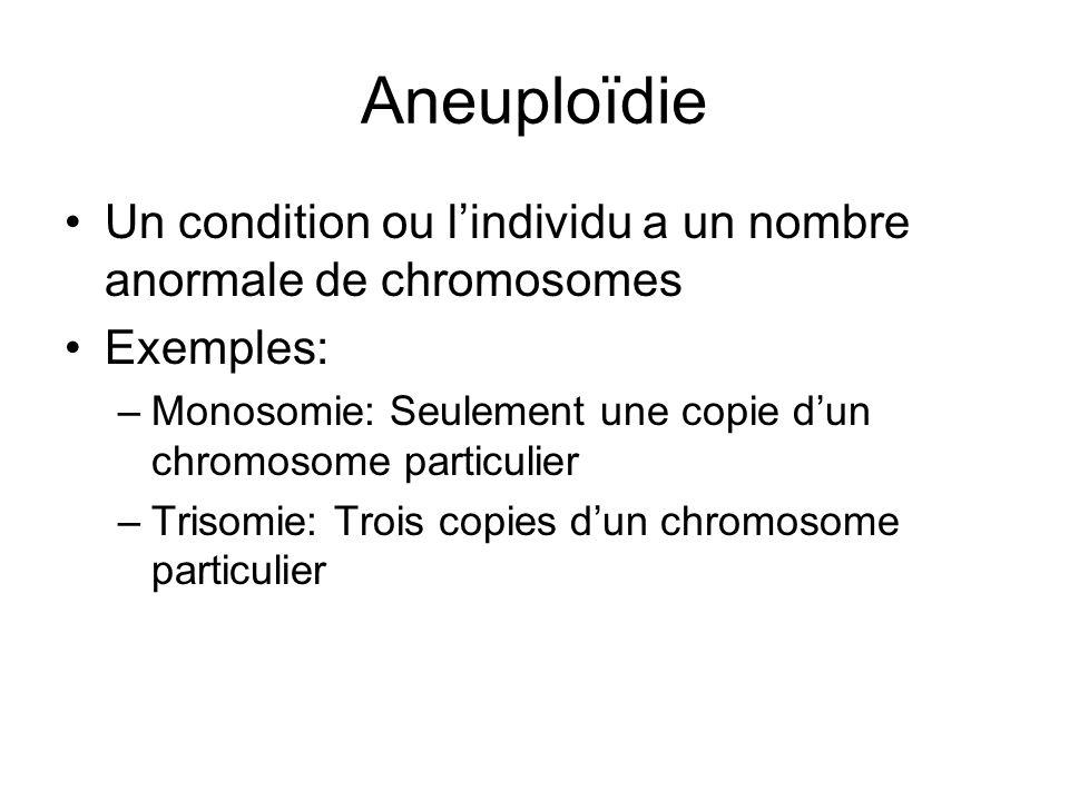 Aneuploïdie Un condition ou l'individu a un nombre anormale de chromosomes. Exemples: Monosomie: Seulement une copie d'un chromosome particulier.