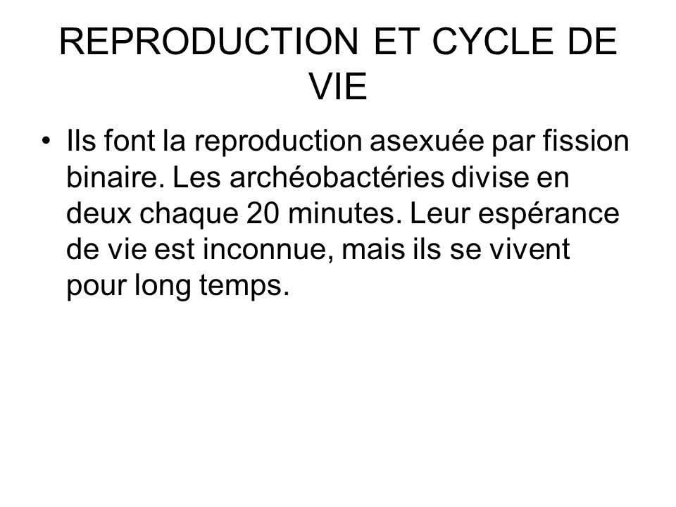 REPRODUCTION ET CYCLE DE VIE