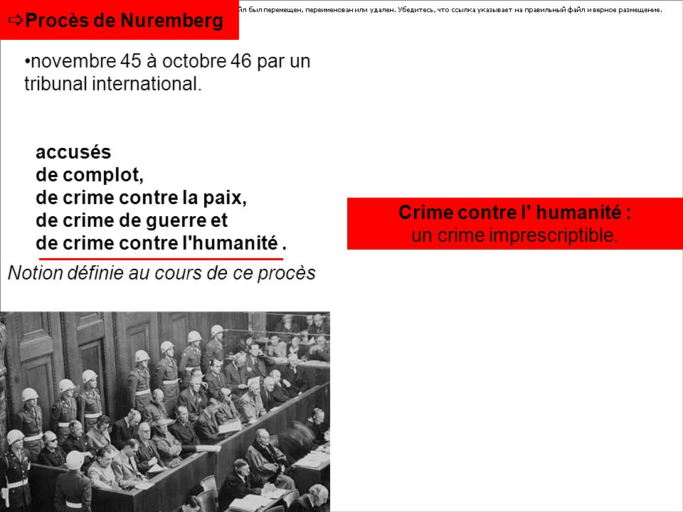 novembre 45 à octobre 46 par un tribunal international.