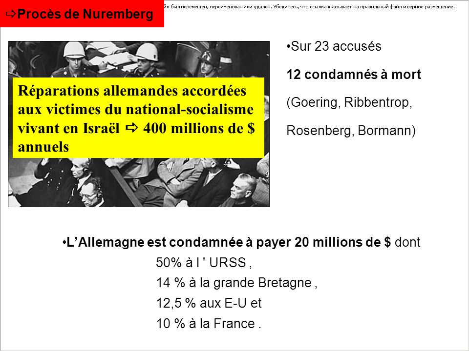 Procès de Nuremberg Sur 23 accusés. 12 condamnés à mort (Goering, Ribbentrop, Rosenberg, Bormann)