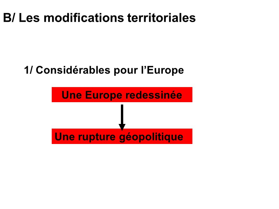 B/ Les modifications territoriales