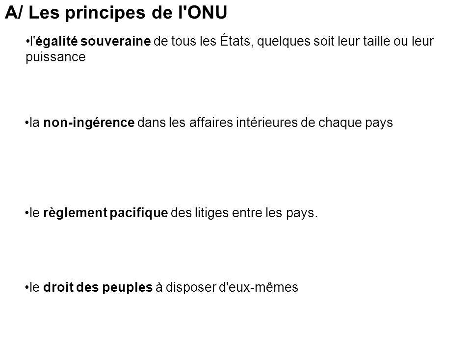 A/ Les principes de l ONU