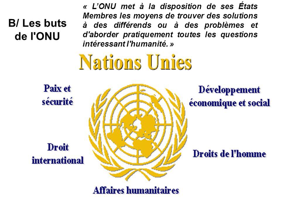 « L'ONU met à la disposition de ses États Membres les moyens de trouver des solutions à des différends ou à des problèmes et d aborder pratiquement toutes les questions intéressant l humanité. »