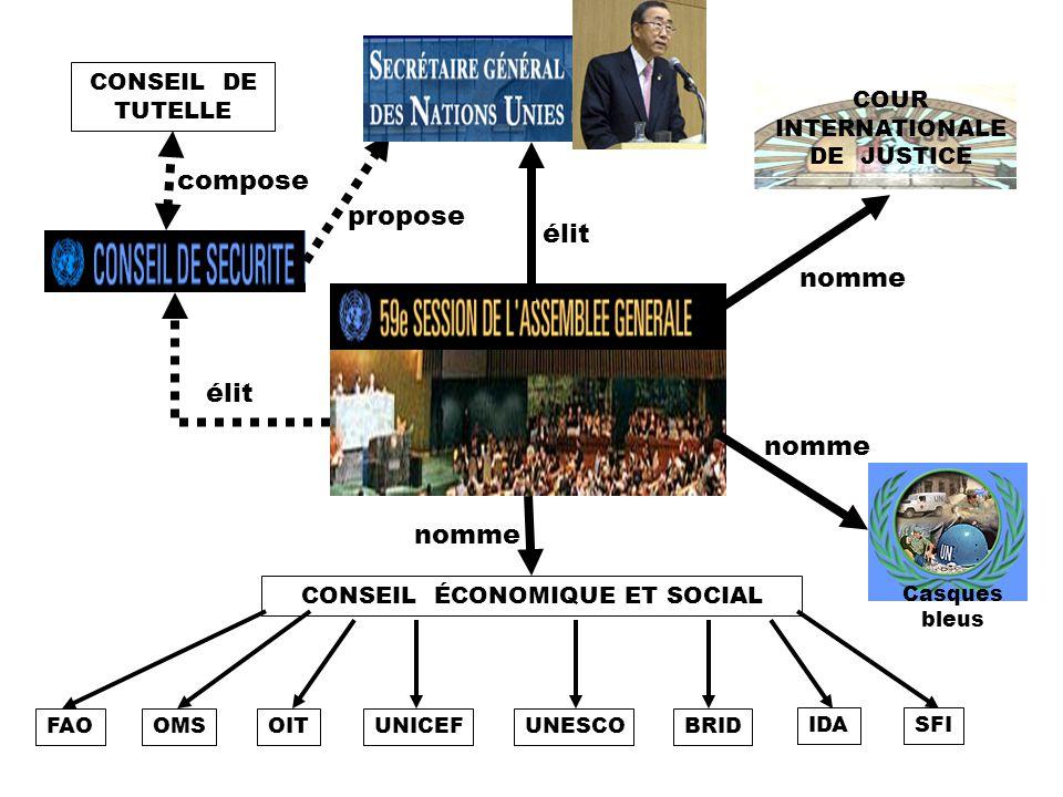 compose propose élit nomme élit nomme nomme CONSEIL DE TUTELLE