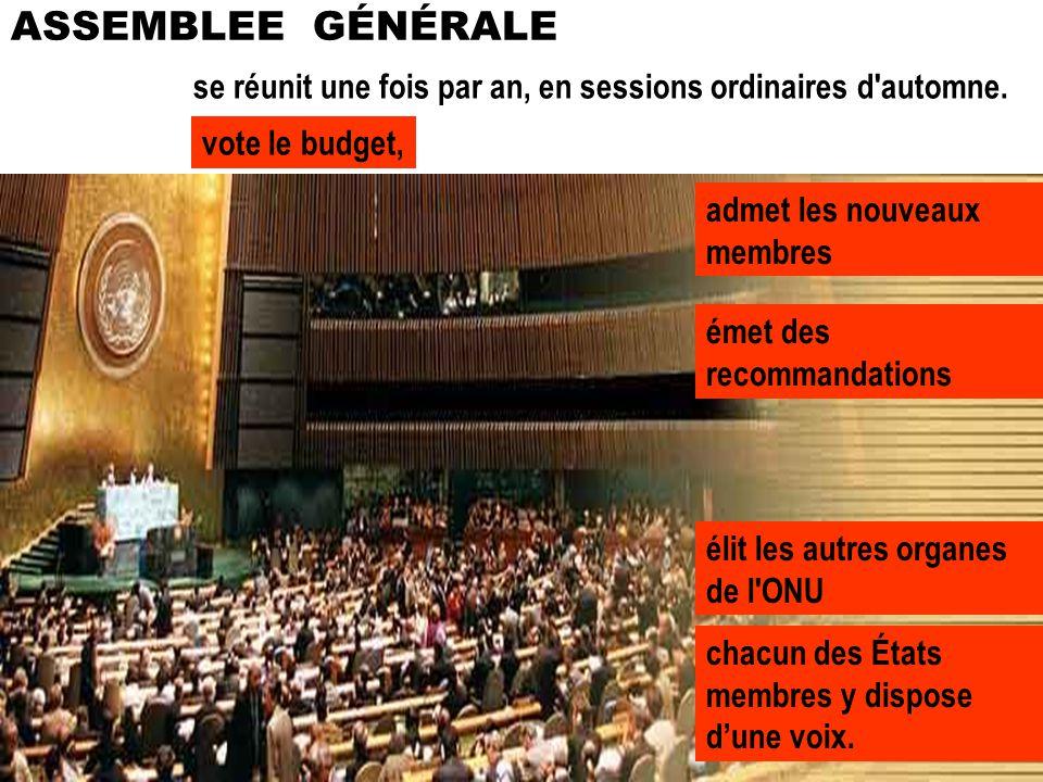 ASSEMBLEE GÉNÉRALE se réunit une fois par an, en sessions ordinaires d automne. vote le budget, admet les nouveaux membres.