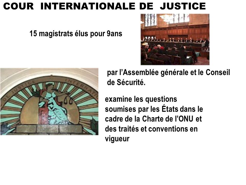 COUR INTERNATIONALE DE JUSTICE