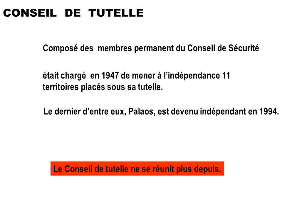 CONSEIL DE TUTELLE Composé des membres permanent du Conseil de Sécurité.