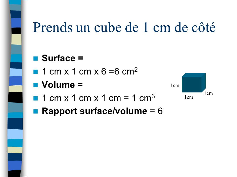 Prends un cube de 1 cm de côté