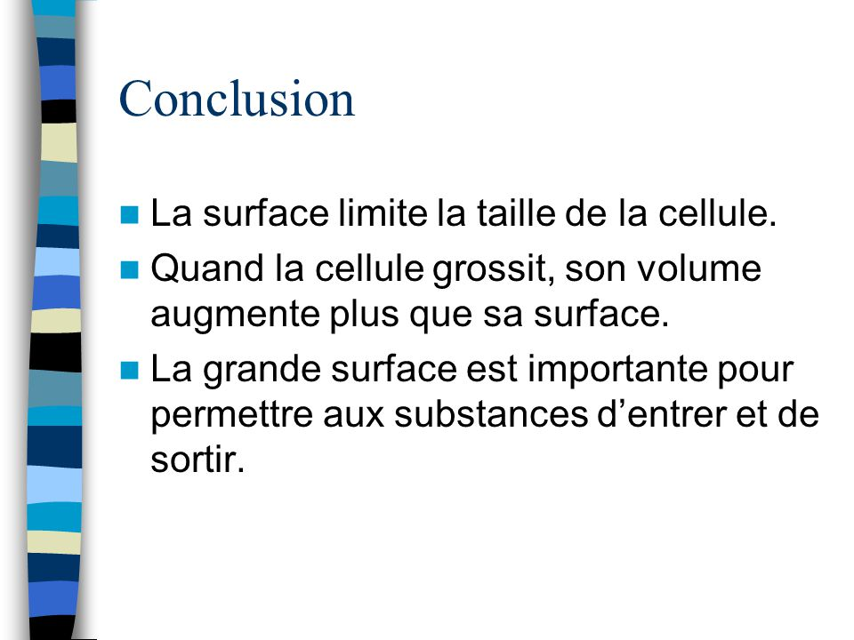 Conclusion La surface limite la taille de la cellule.