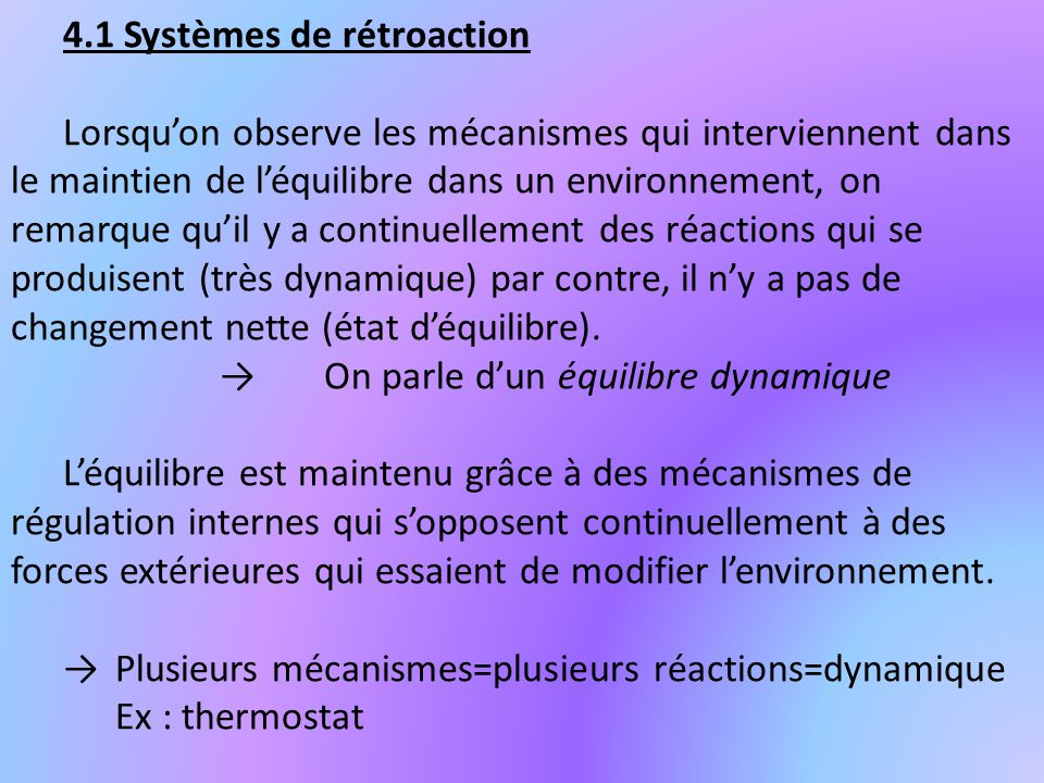 4.1 Systèmes de rétroaction