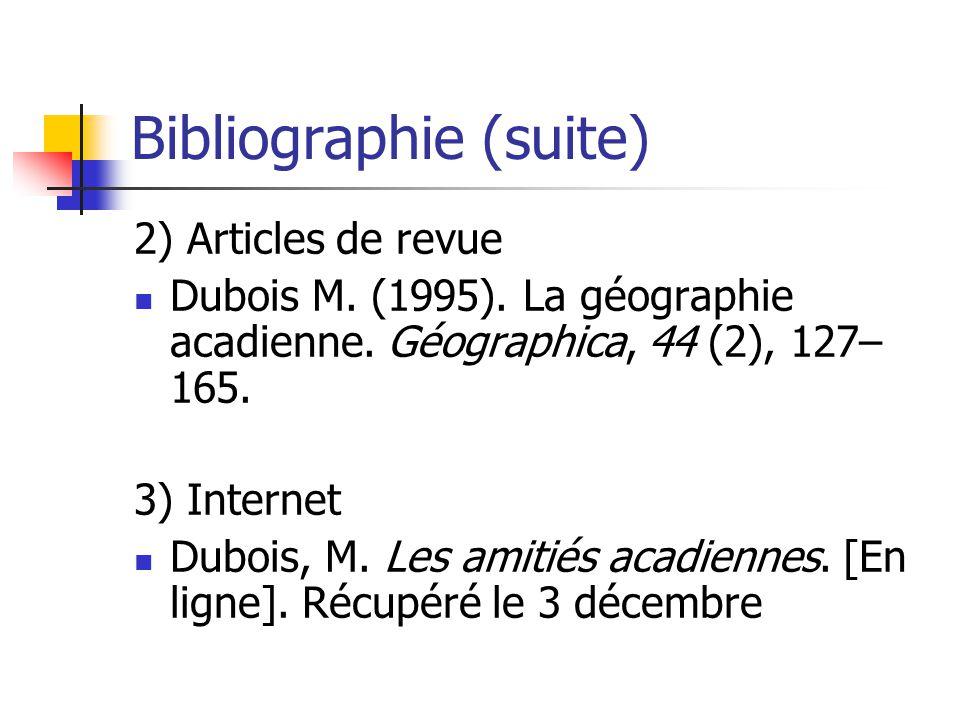 Bibliographie (suite)
