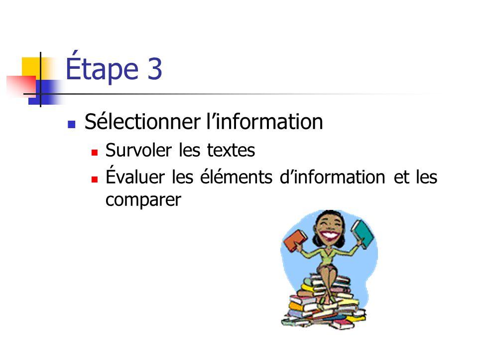 Étape 3 Sélectionner l'information Survoler les textes