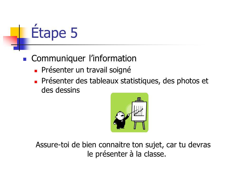 Étape 5 Communiquer l'information Présenter un travail soigné