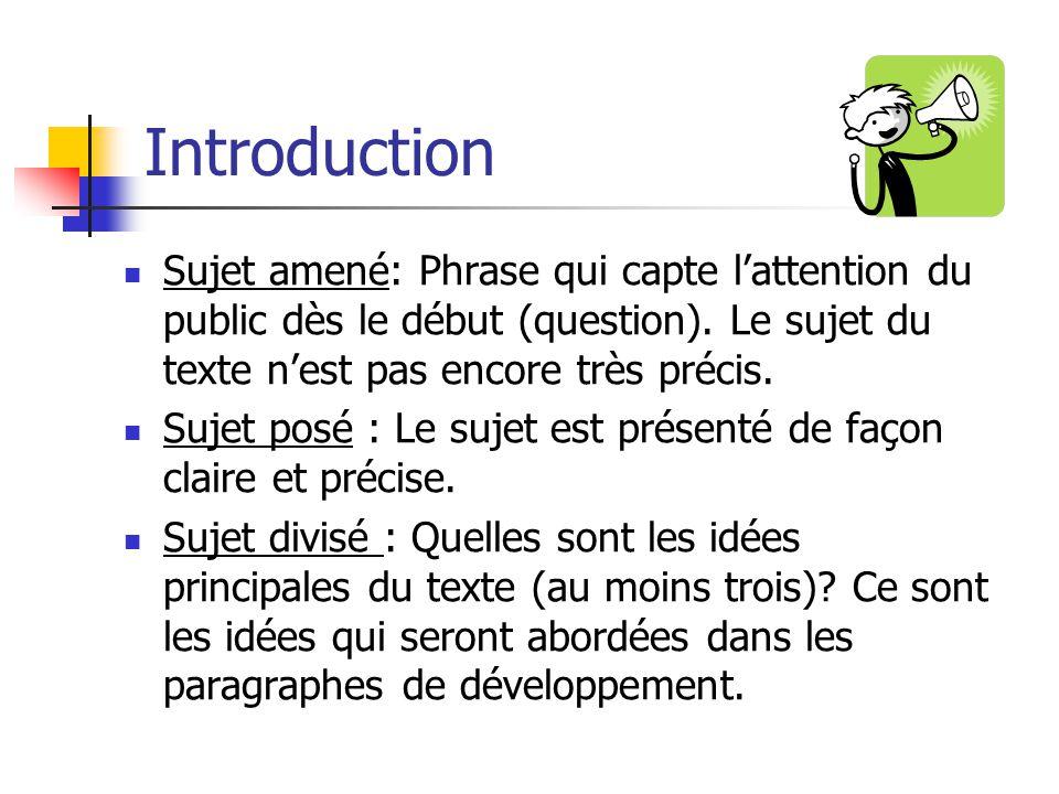 Introduction Sujet amené: Phrase qui capte l'attention du public dès le début (question). Le sujet du texte n'est pas encore très précis.