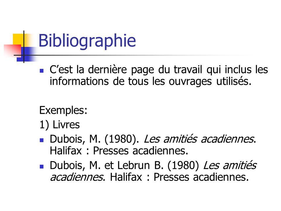 Bibliographie C'est la dernière page du travail qui inclus les informations de tous les ouvrages utilisés.