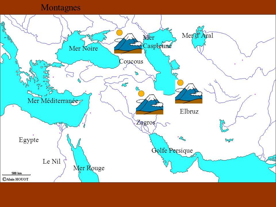 Montagnes Mer d'Aral Mer Caspienne Mer Noire Coucous Mer Méditerranée