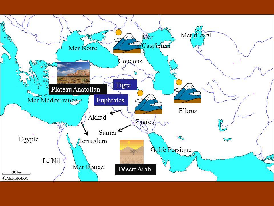 Mer d'Aral Mer Caspienne Mer Noire Coucous Tigre Plateau Anatolian