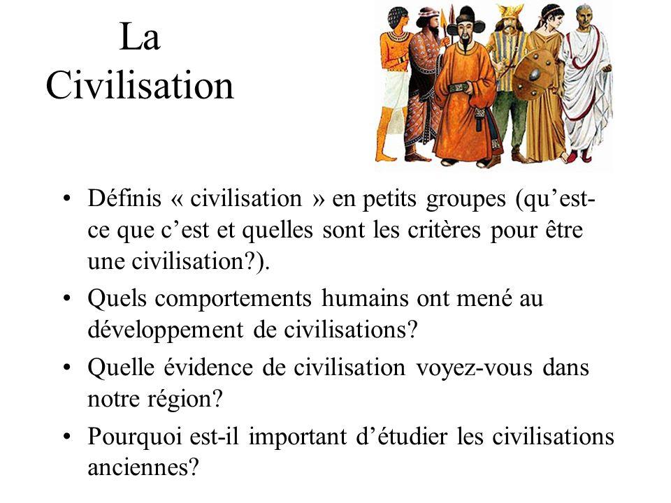 La Civilisation Définis « civilisation » en petits groupes (qu'est-ce que c'est et quelles sont les critères pour être une civilisation ).